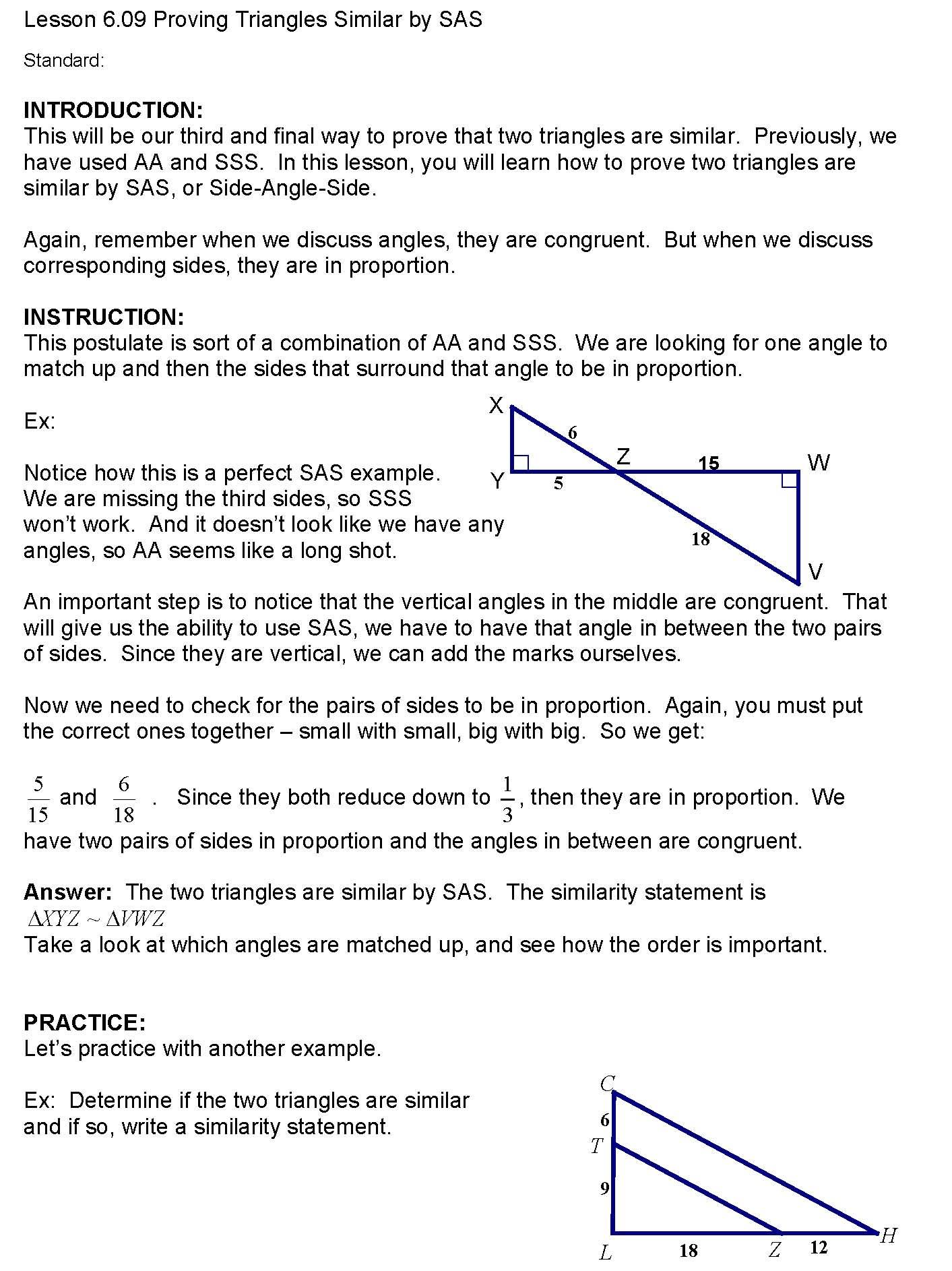 Cosgeometry Lesson 6 09 Proving Triangles Similar By Sas
