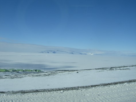 View of the Ross Ice Shelf and McMurdo Sound, with Scott's Base in the foreground.