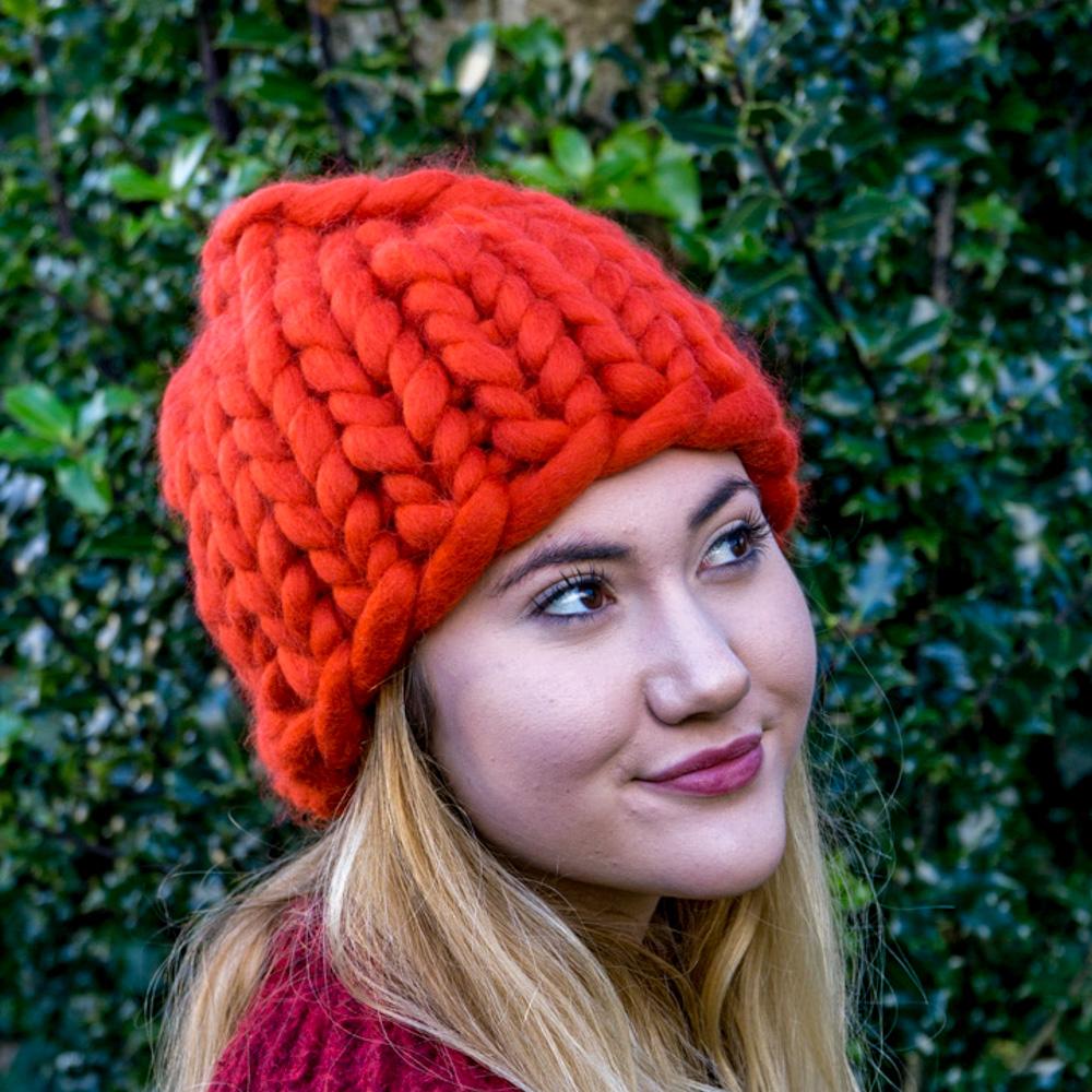 Super Chunky Knit Santa Hat Roving Hat in Merino Wool | Cosi Knits ...