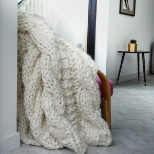 Extreme Knit Blanket Super Chunky Throw with Fishermen style gansey cable