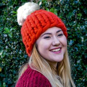 Super Chunky Knit Santa Hat with Pom Pom