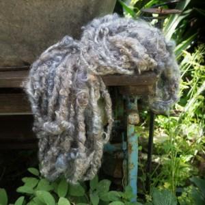 Hand spun art yarn grey Wensleydale and Silk