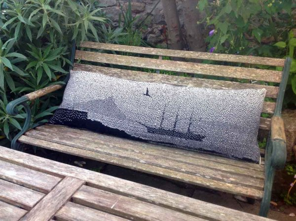 Knitted Scenic Cushion of Mounts Bay