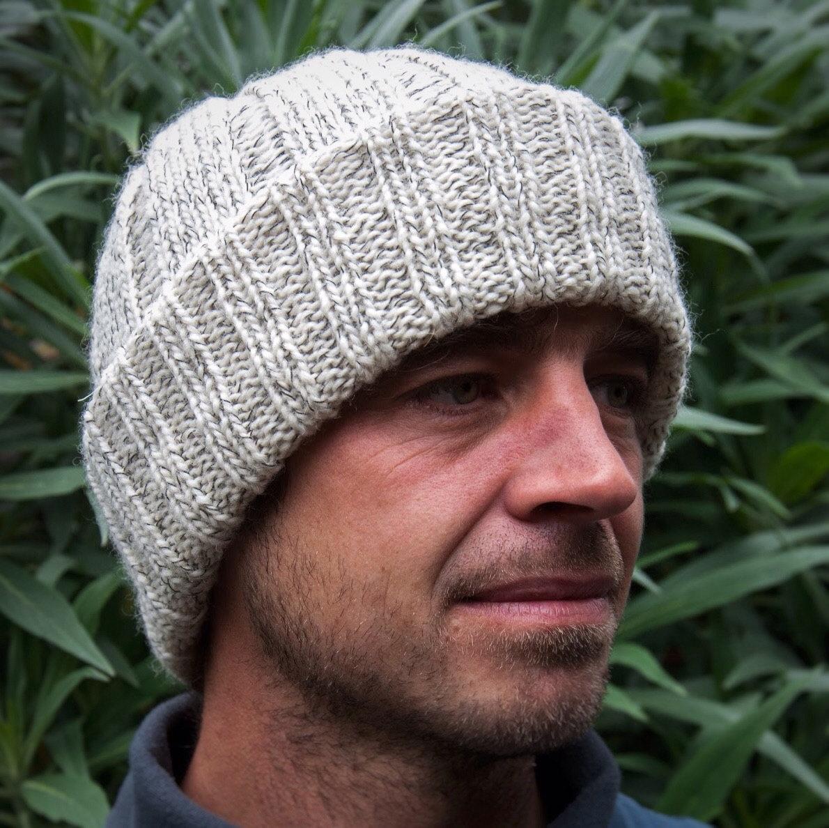 8e317b04591 Traditional Mens Winter Hat Watch Cap   Beanie Hat handmade Lambswool
