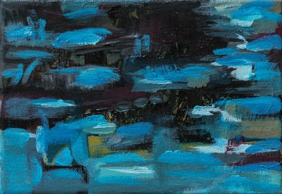 Black and Blue Abstract w