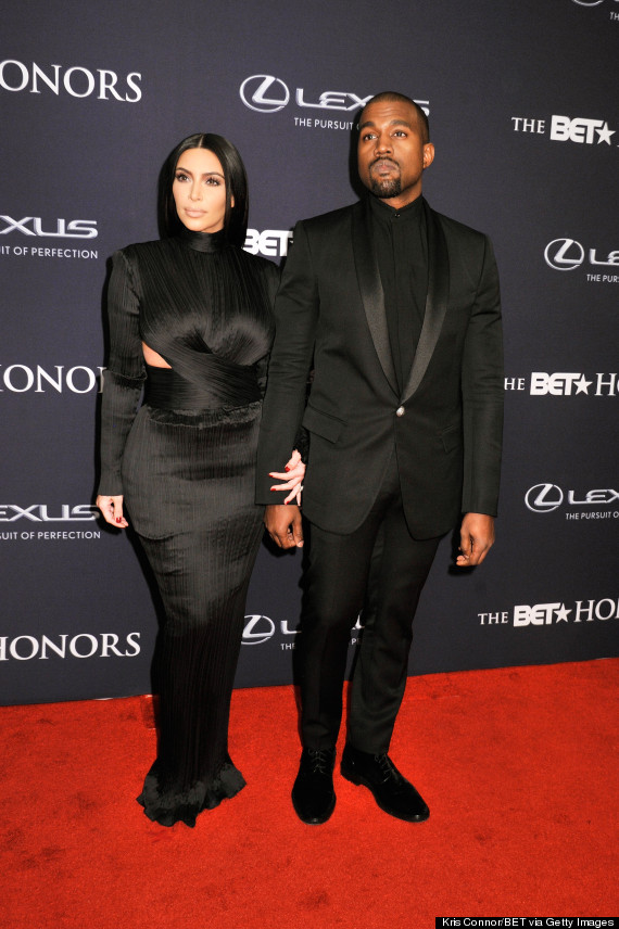 """WASHINGTON, DC - JANUARY 24: TV personality Kim Kardashian and rapper Kanye West attend """"The BET Honors"""" 2015 at Warner Theatre on January 24, 2015 in Washington, DC. (Photo by Kris Connor/BET/Getty Images for BET)"""