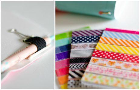 Soporte para bolígrafo y organización de washi tapes para viajar