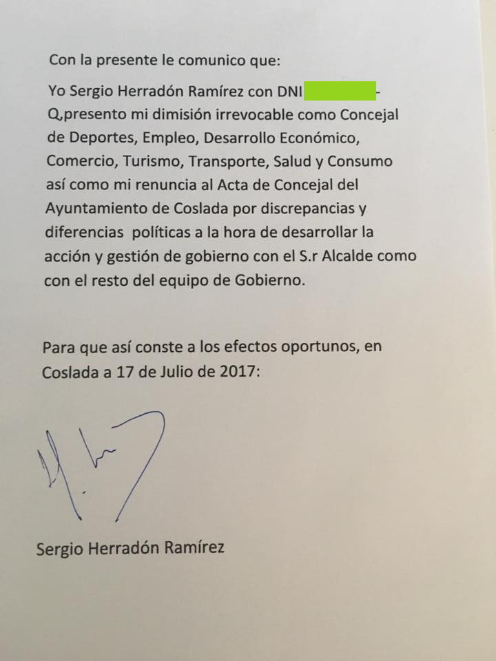 Dimision de Sergio Herradón