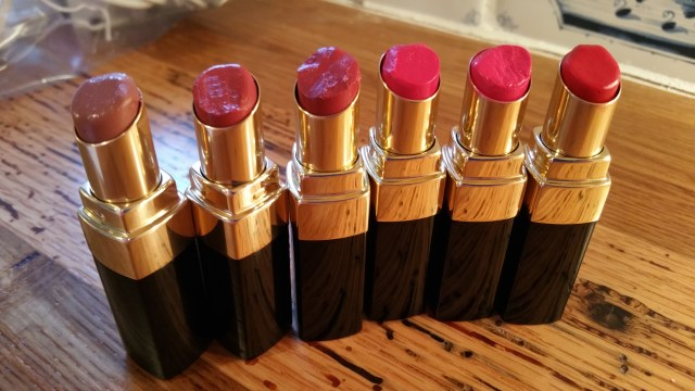 Left to right Blush, Rosebud, Uber Rose, Bright Raspberry, Cosmic Peony, and Poppy - with flash