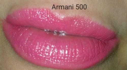 Giorgio Armani Rouge Ecstasy Lipstick - Eccentrico No. 500 - swatched on lips with flash