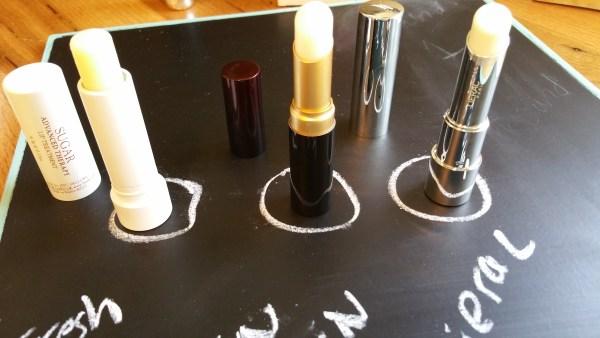 Left to right: Fresh f21c Sugar Lip Treatment, Kevyn Aucoin The Sensual Lip Balm, and Lierac Hydro-Chrono Plus Lip Balm