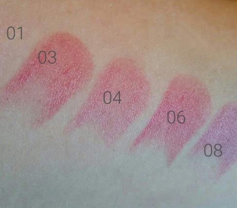 Left to right: Sephora Collection Rouge Balm SPF 20 in Delicate Pink 01, Enchanting Blush 03, Sweet Fushcia 04, Soft Rose 06 (says Soft Red on the site), Subtle Peony 08, swatched on arm - natural light