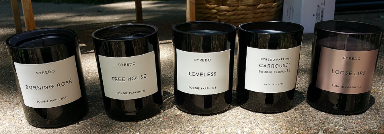 Byredo Candles, left to right: Burning Rose, Tree House, Loveless, Carroussel, and Loose Lips