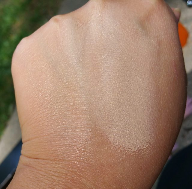Kat Von D Beauty Lock-It Creme Concealers, in shades L13 (Cool) and L7 (Warm), left to right, swatched and blended out.