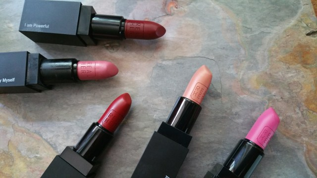 RealHer Lipsticks in I Am Powerful, I Define Beauty Myself, Be Yourself Be RealHer, I Love Myself, and Women Rule the World