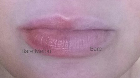 Bobbi Brown Extra Lip Tint Bare Melon Swatched with Bare Lip