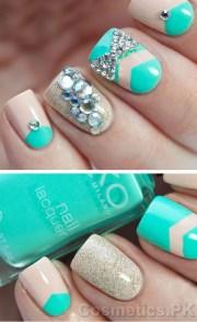 aqua nail art design short