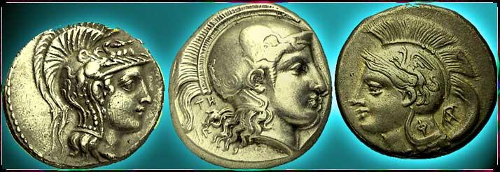* Profils gravés de Pallas sur pièces antiques *