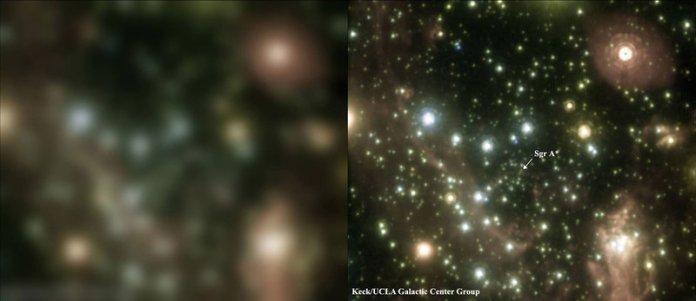 Zdjęcie centrum Drogi Mlecznej. Ponownie po lewej wyłączona OA, po prawej włączona.