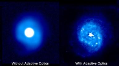 Zdjęcie jądra galaktyki NGC 7469 wykonane teleskopem Keck'a z włączoną optyką adaptatywną (prawy) i bez (lewy). Zdjęcia wykonane przez Canada-France-Hawaii Telescope.
