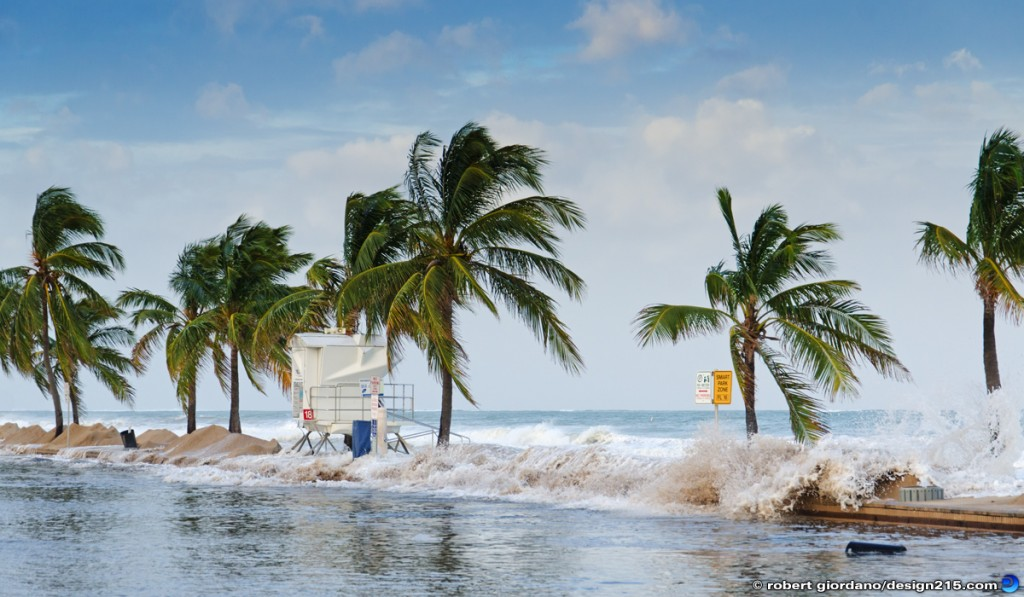 Ocean floods A1A along Fort Lauderdale Beach, Florida