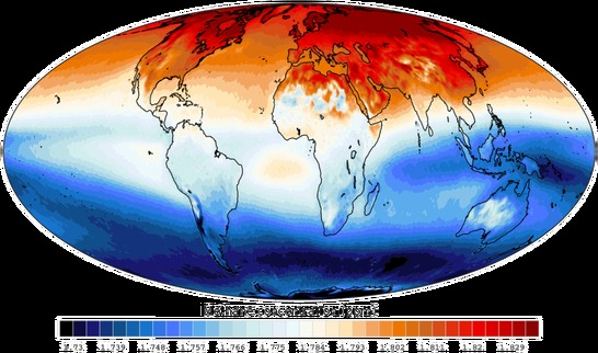 Global atmospheric methane chart 2006-2009 showing Methane concentration in the upper troposphere.