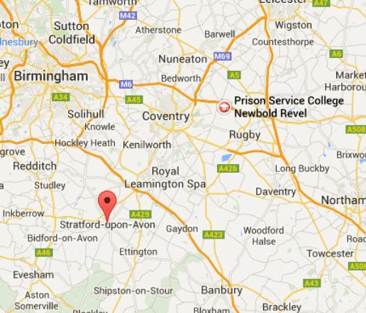 Stratford-upon-Avon, Warwickshire, UK is located 25 miles from Newbold Revel Warwickshire