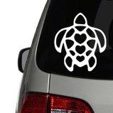 Hawaiian Turtle with Hearts Vinyl Decal