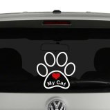 Love My Cat Paw Print Vinyl Decal 2 Color