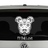 Pitbull Love Sugar Skull Style Vinyl Decal Sticker