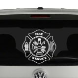 Fire and Rescue Emblem Vinyl Decal Sticker