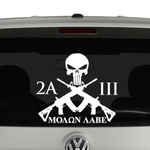 2nd Amendment 3 Percent Molon Labe Crossed Rifles Vinyl Decal Sticker