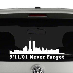 9-11-01 Never Forget Word trade Center Skyline Vinyl Decal Sticker