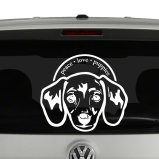 Peace Love Puppies Dachshund Dog Lovers Vinyl Decal Sticker