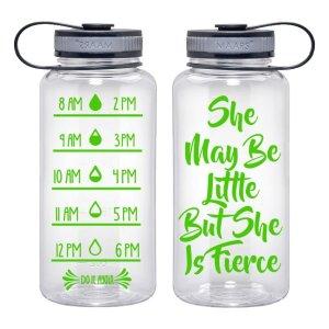 Water Tracker – She May Be Little But She Is Fierce Sports Water Bottle 34 Oz
