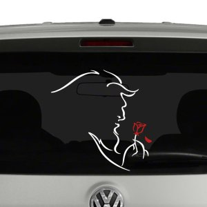 Beauty an the Beast Inspired Beast and Rose Vinyl Decal Sticker