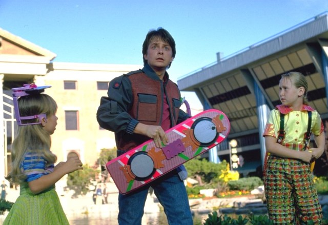 Image: Marty McFly and hoverboard