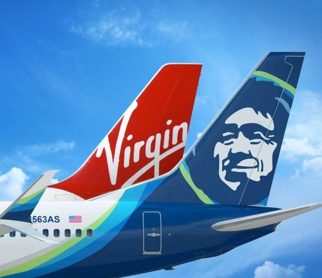 Virgin America and Alaska Airlines jet tails