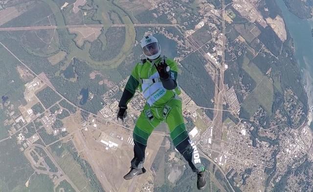Skydiver Luke Aikins descends. (Credit: Mondelez International / Fox / Stride Gum via Tumblr)