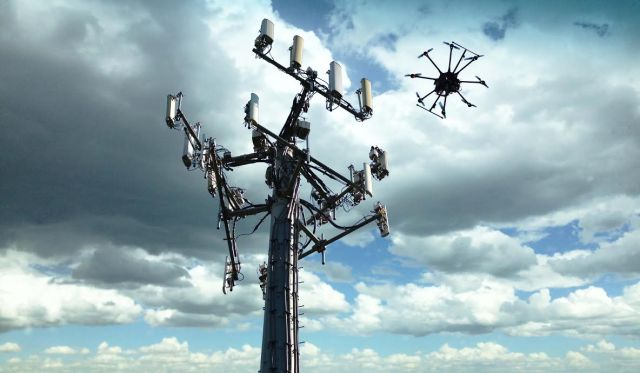 Image: Drone at cell tower