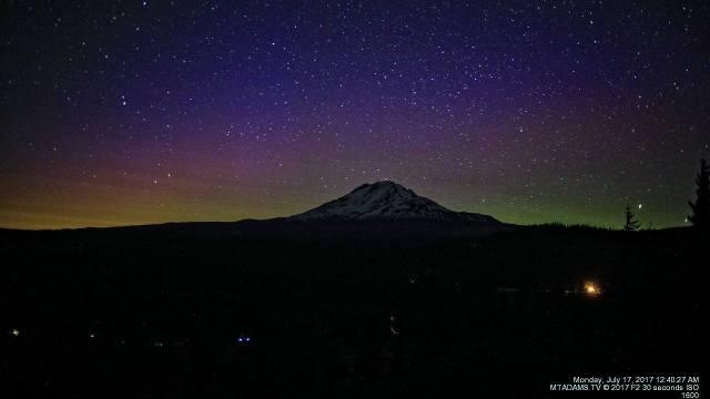 Aurora over Mount Adams