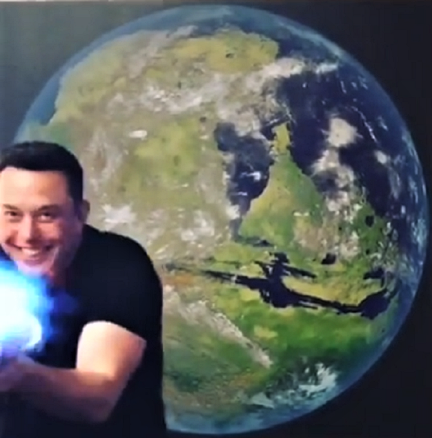 Elon Musk with flamethrower