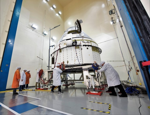 Starliner in test chamber