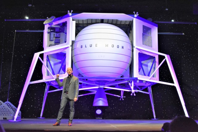 Jeff Bezos and Blue Moon lander mockup
