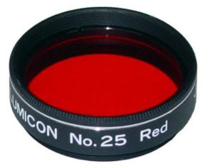 "A #25 Wratten filter threaded for a 1.25"" eyepiece: an essential filter for observing Mars (credit: Agena AstroProducts)"