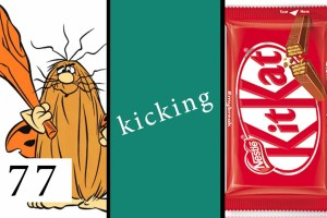 Captain Caveman Kicking a Kitkat
