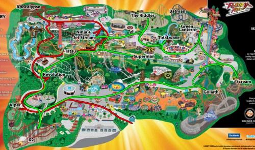 Six Flags karta med vår tur genom parken.