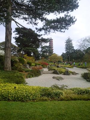 Den japanska trädgården med välkrattad grus istället för vatten.