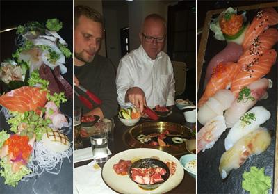 På Shin Nori med sashimi, L och pappa steker på stekbordet, och sushi.