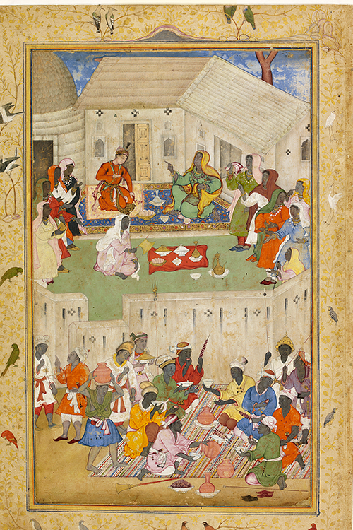 Representation of an Indian prince eating in the land of the Ethiopians or East Africans (Zangis). Mughal, Akhbar period, c. 1590. Museum Rietberg Zurich, permanent loan Catharina Dohrn © Photograph: Courtesy Francesca Galloway.